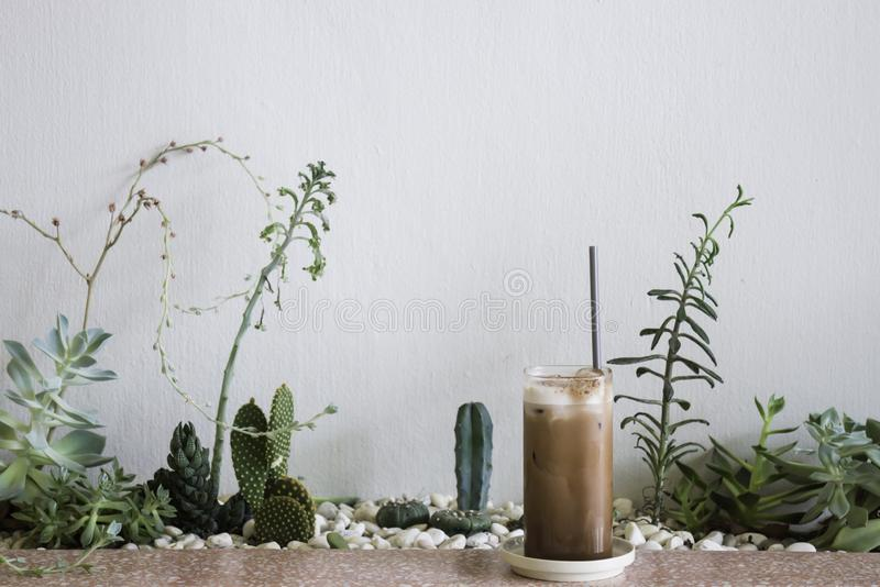 Iced coffee in coffee shop royalty free stock images