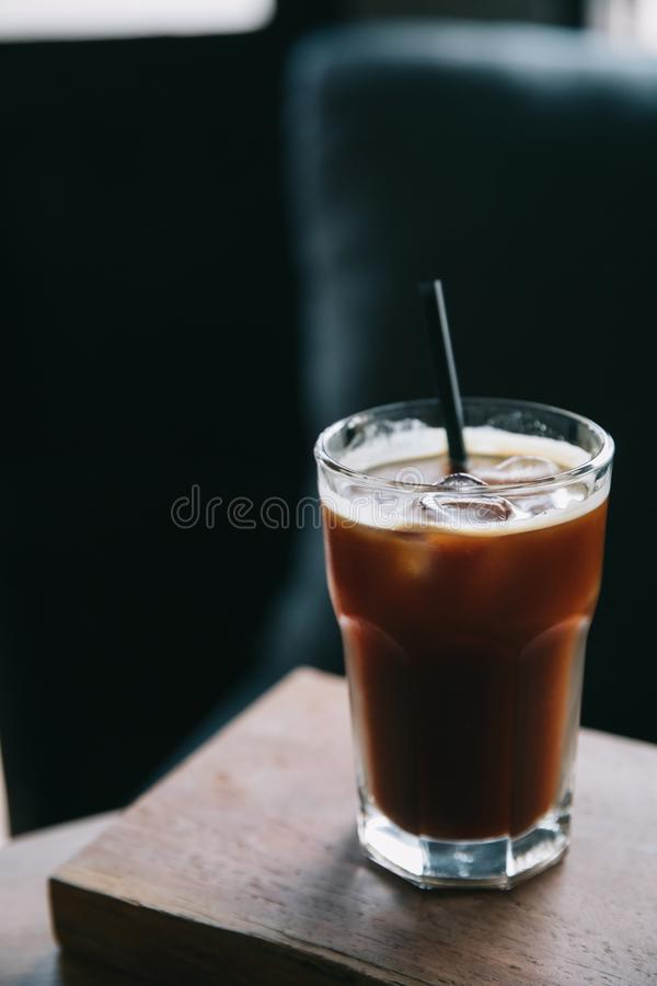 Iced coffee in a tall glass stock photography