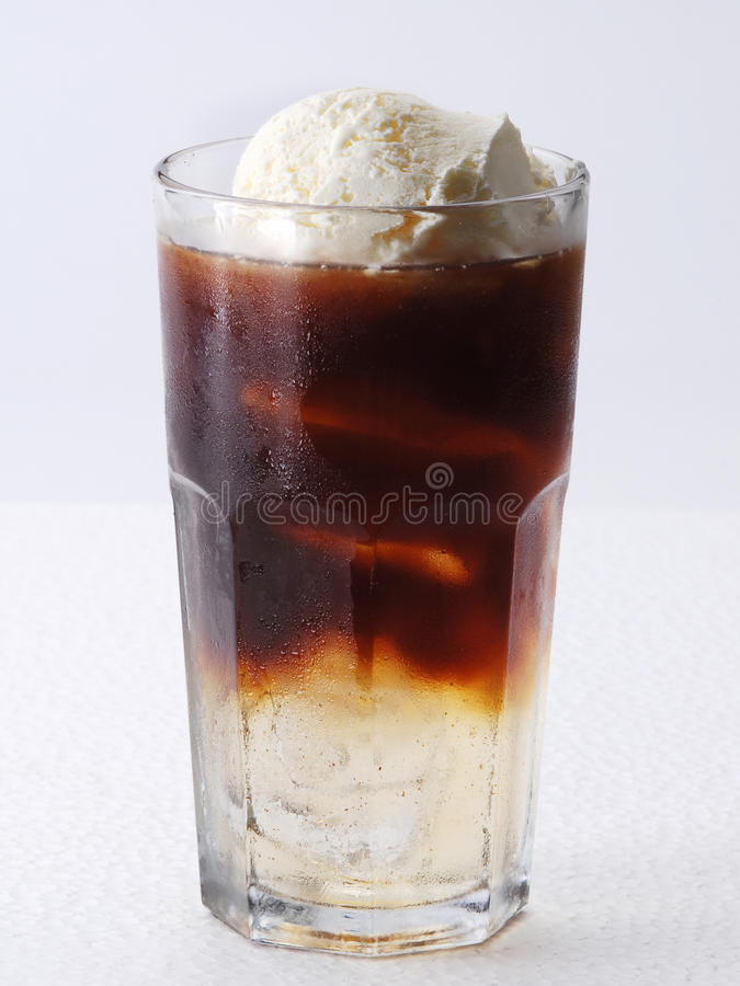 Iced coffee with vanilla float stock images