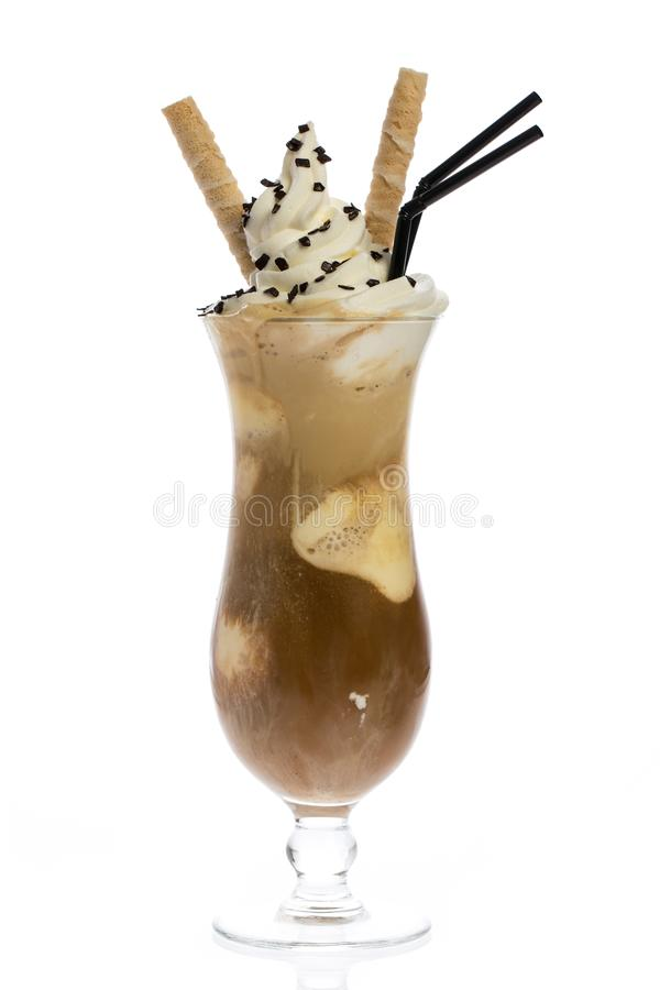 Iced coffee with vanilla ice-cream on white background royalty free stock images