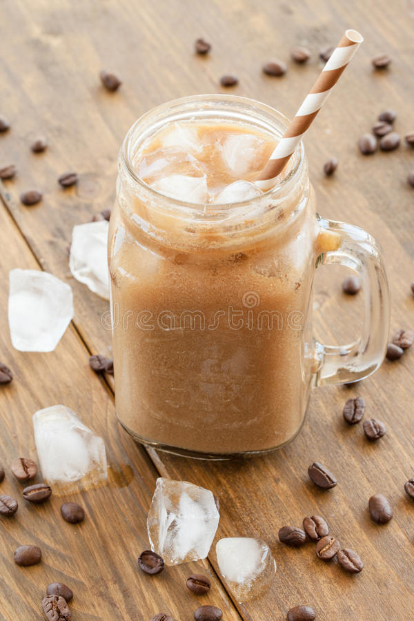 Iced coffee in vintage jar stock images