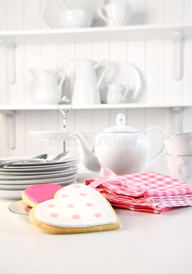 Iced cookies on the counter for Valentine's Day royalty free stock photography