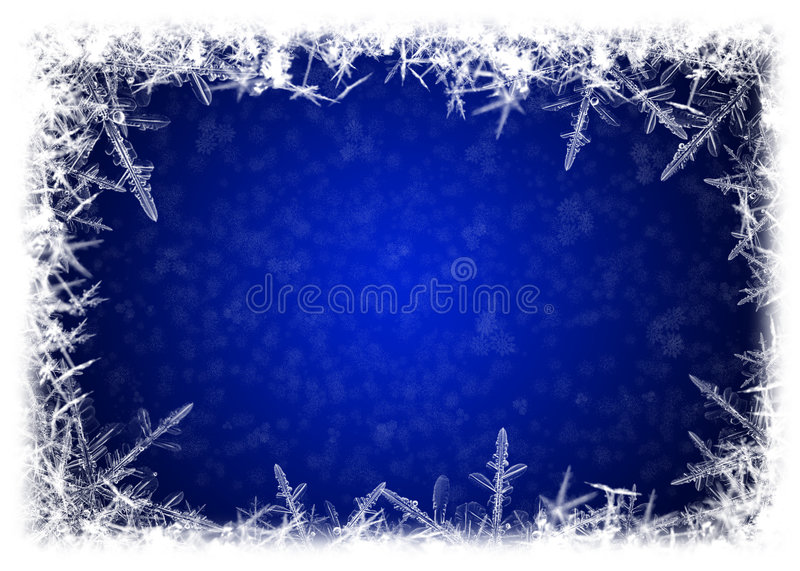 Iced frame. Border of icicles on blue background royalty free illustration