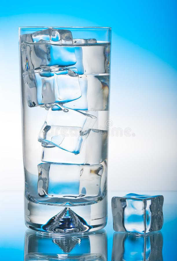 Iced glass of cool water stock photo