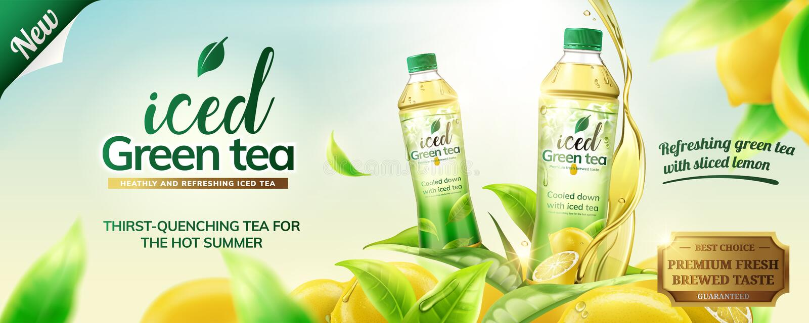 Iced green tea ads. With bottles on lemons and leaves flying around them, 3d illustration on outdoor background vector illustration