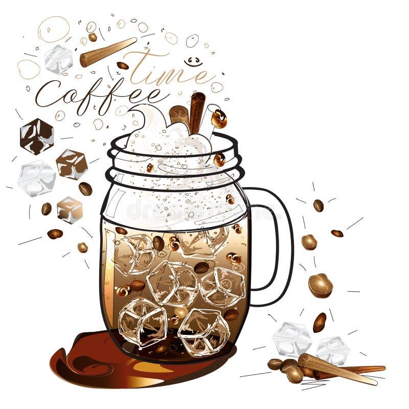 iced kaffedrink royaltyfri illustrationer