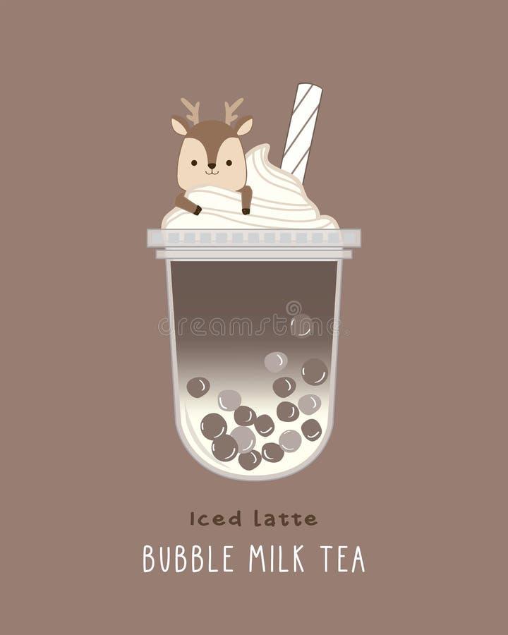 Iced Latte Bubble Milk royalty free stock photos