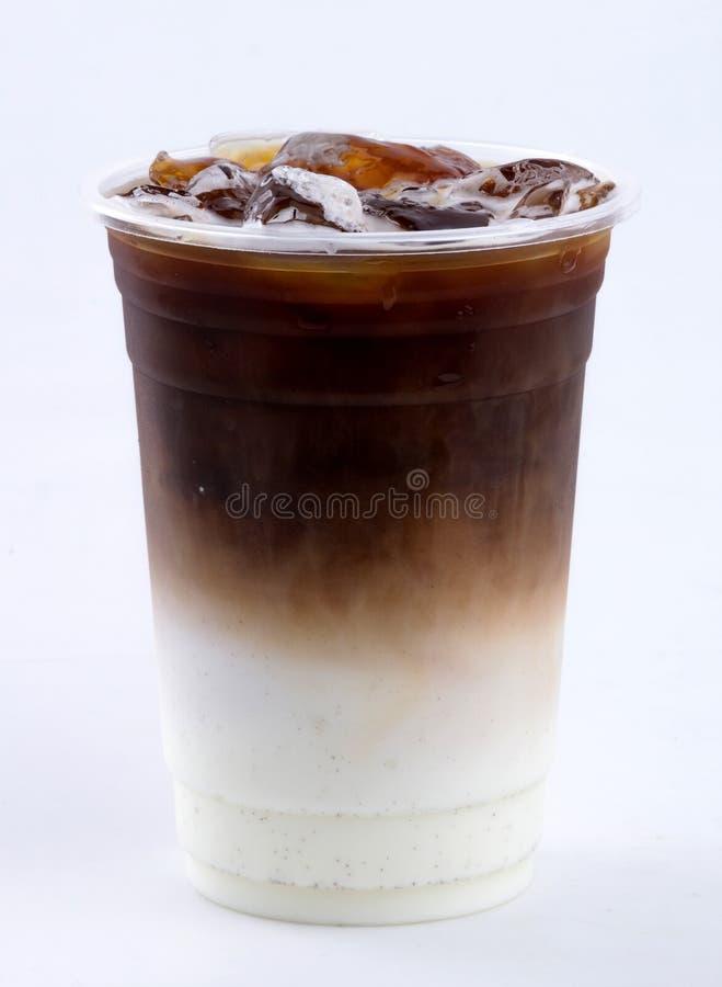 Iced latte. On white background royalty free stock photos