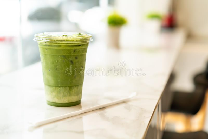 iced matcha latte green tea cup stock photos