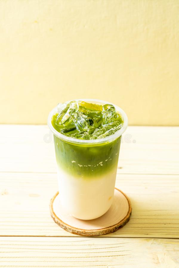 iced matcha latte green tea royalty free stock photos