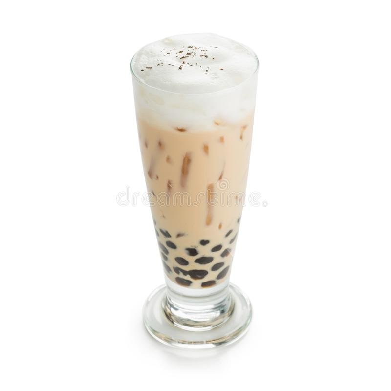Iced milk tea with bubble frappucino isolated on white background.  royalty free stock image