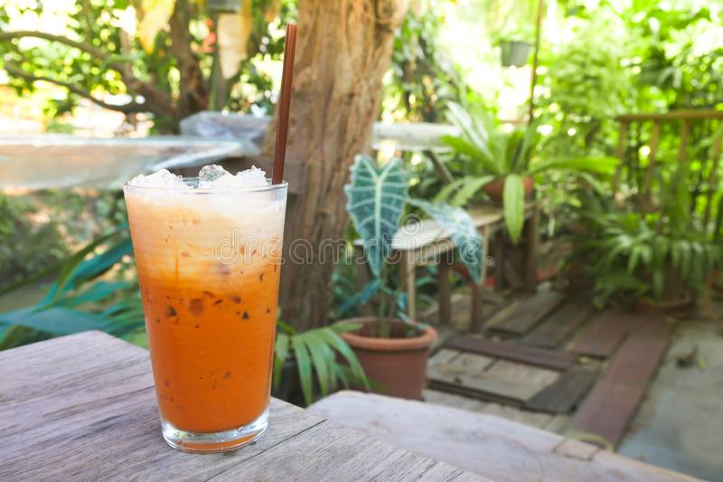 Iced milk tea in modern glass with natural garden view, Thai drink royalty free stock photo