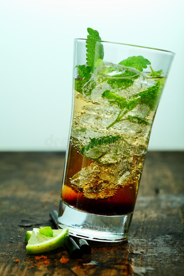 Iced mojito cocktail with mint royalty free stock photo