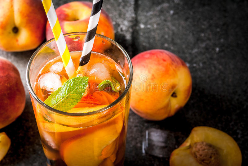 iced peach tea stock image image of soda homemade leaf 94473657