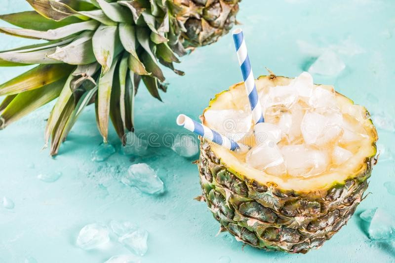 Iced pineapple cocktail royalty free stock image