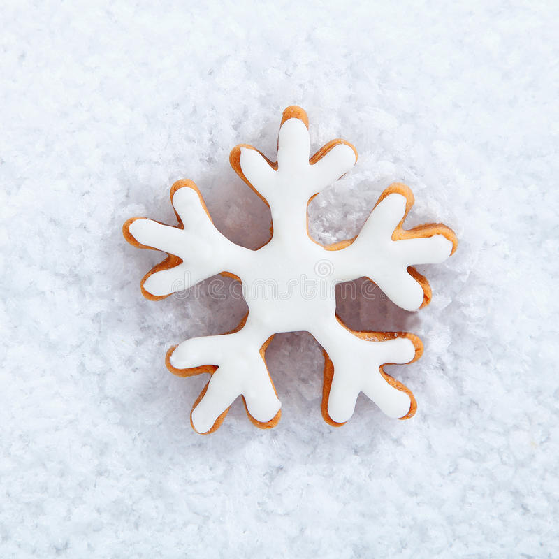 Iced Snowflake Biscuit On Snow Royalty Free Stock Photos