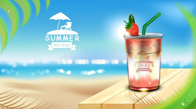Iced strawberry juice takeaway cup placed on wooden floor with ice cubes, coconut leaf set for summer beach background stock illustration