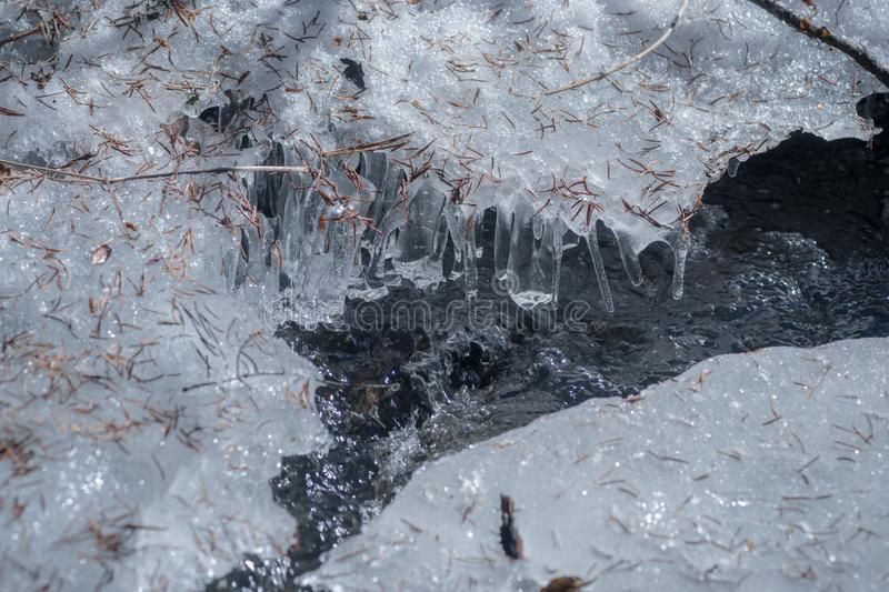 Melting Ice on the Creek. A iced surface in northern BC Canada is portrayed during the early spring melt stock image
