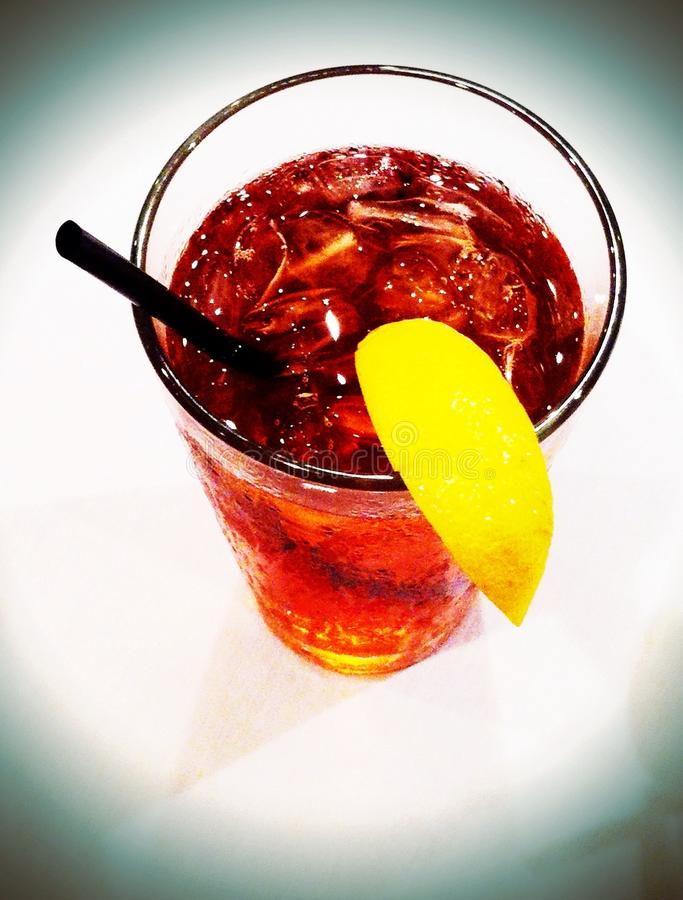 Iced tea. Glass of iced tea with lemon. Taken and edited on iPhone