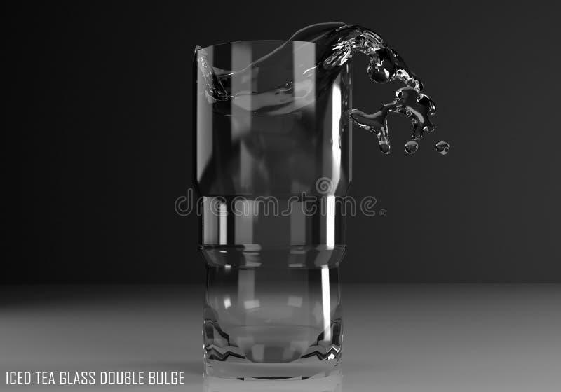 Iced tea glass double bulge 3D illustration. On dark background royalty free illustration