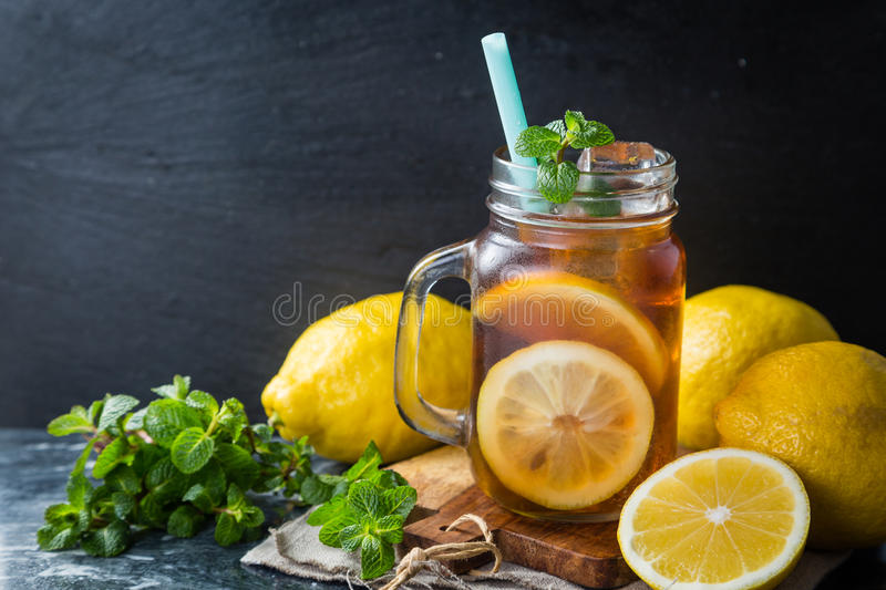 Iced tea in glass jars. Copy space royalty free stock images