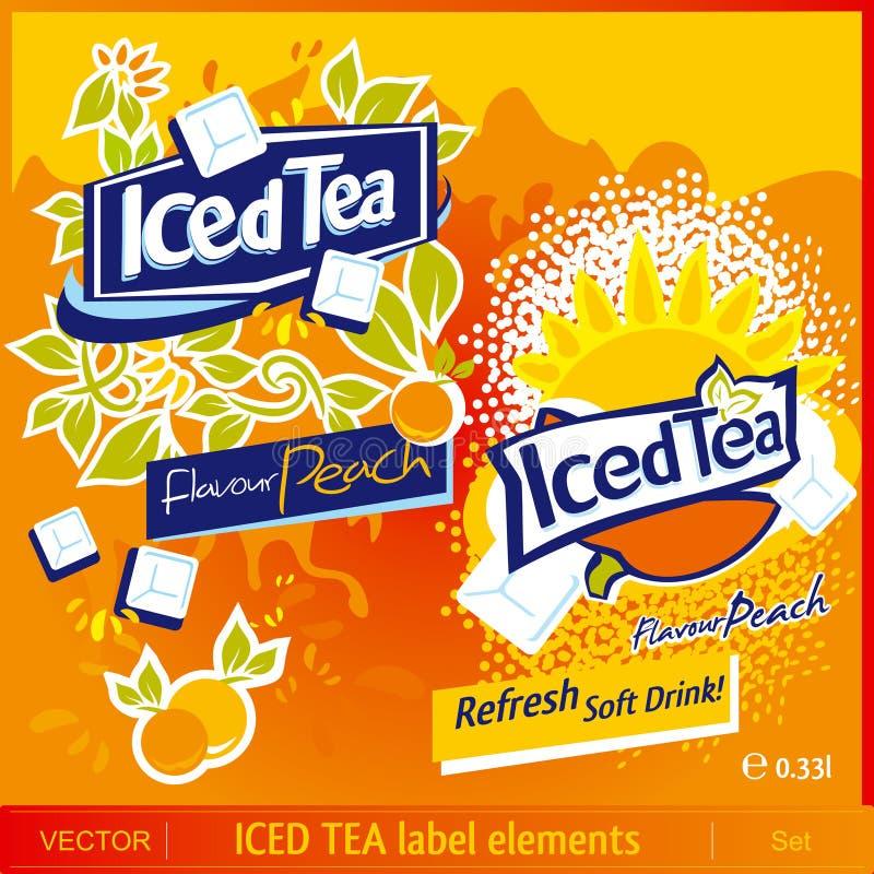 Iced Tea label elements royalty free illustration