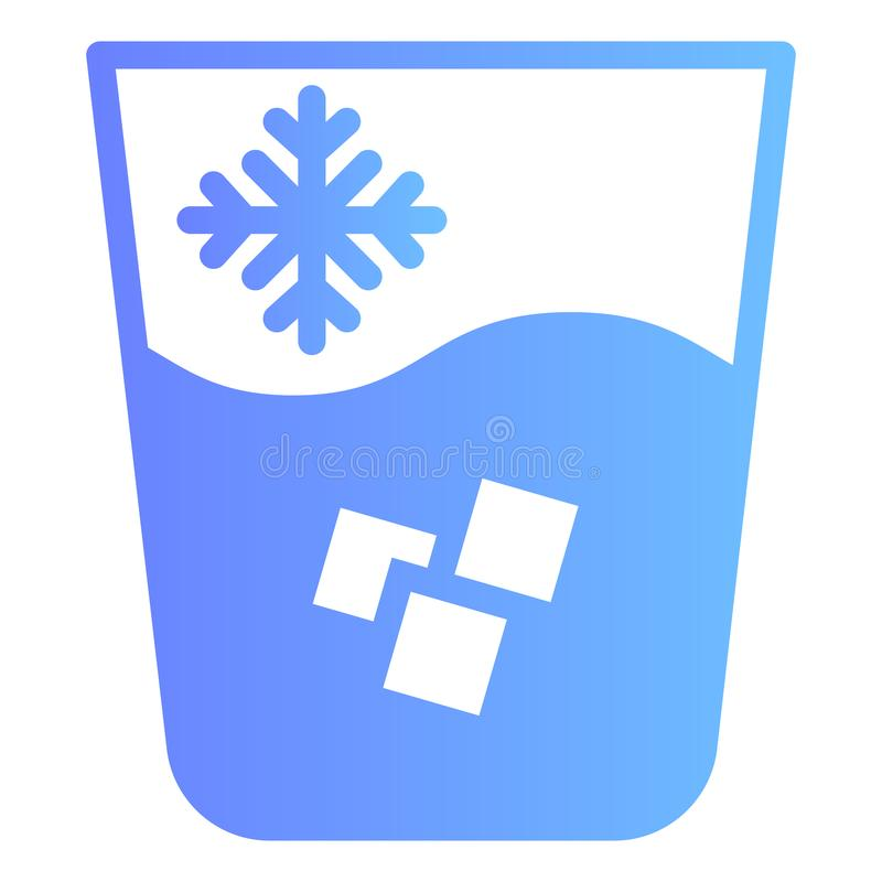 Iced water flat icon. Water with ice color icons in trendy flat style. Glass of cold drink gradient style design. Designed for web and app. Eps 10 vector illustration