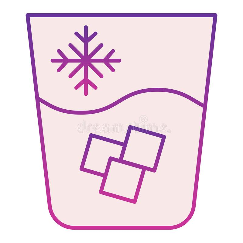 Iced water flat icon. Water with ice violet icons in trendy flat style. Glass of cold drink gradient style design. Designed for web and app. Eps 10 stock illustration