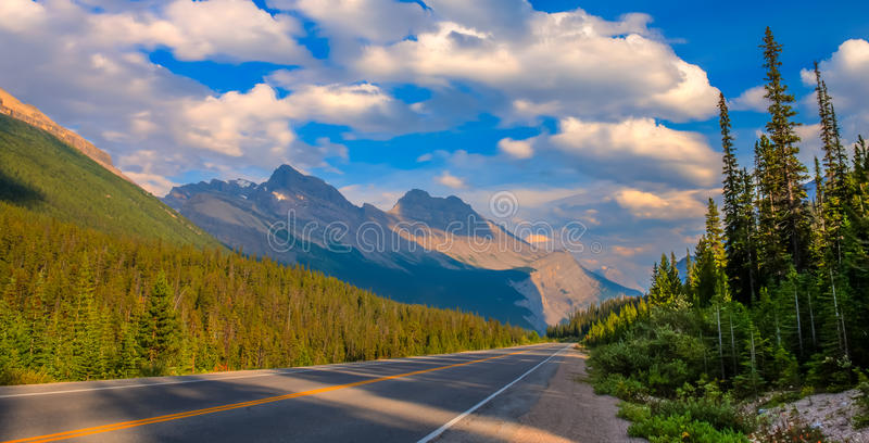 Icefield Parkway. On the Icefield Parkway just south of the Athabasca Glacier in Banff National Park, Alberta, Canada royalty free stock images