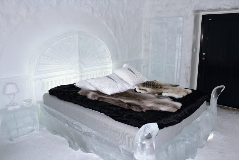 Icehotel i Jukkasjärvi i Sverige är hotellet för is för världs` s första arkivfoton