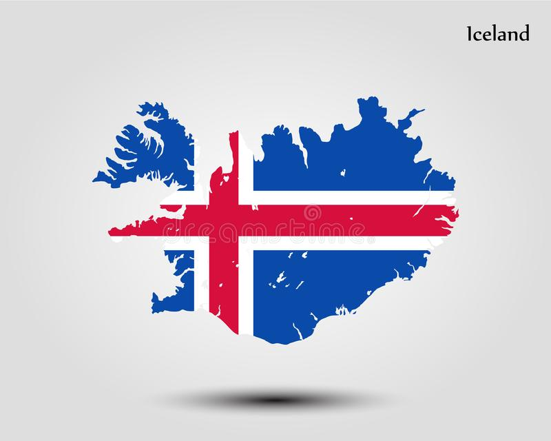 iceland översikt royaltyfri illustrationer