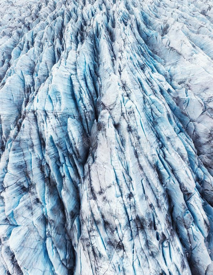 Iceland. Aerial view on the glacier. Landscape in the Iceland at the day time. Famous place in Iceland. Landscape from drone. stock photography