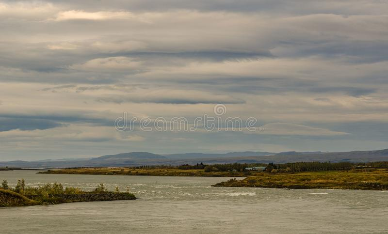 Iceland, autumn, typical Icelandic landscape, clouds expanse of water. Amazingly beautiful view into the distance stock photo