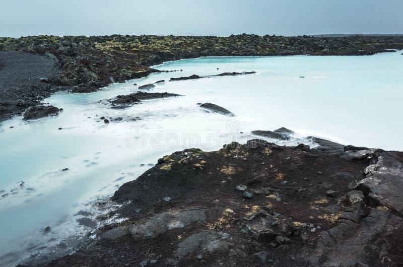 Iceland, Błękitny laguna krajobraz Geotermiczny zdrój zdjęcie stock