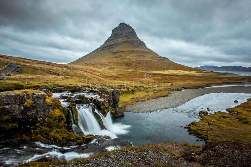 Iceland. Beautiful summer landscapes overlooking the mountain Kirkyufetl royalty free stock images