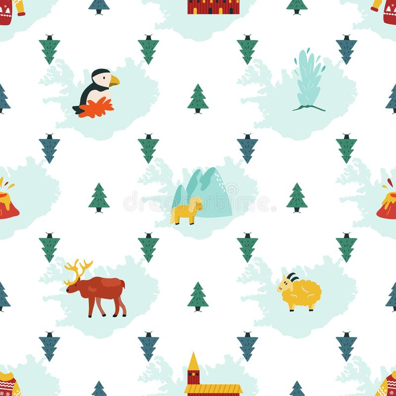 Iceland cartoon seamless pattern. Travel illustration royalty free illustration