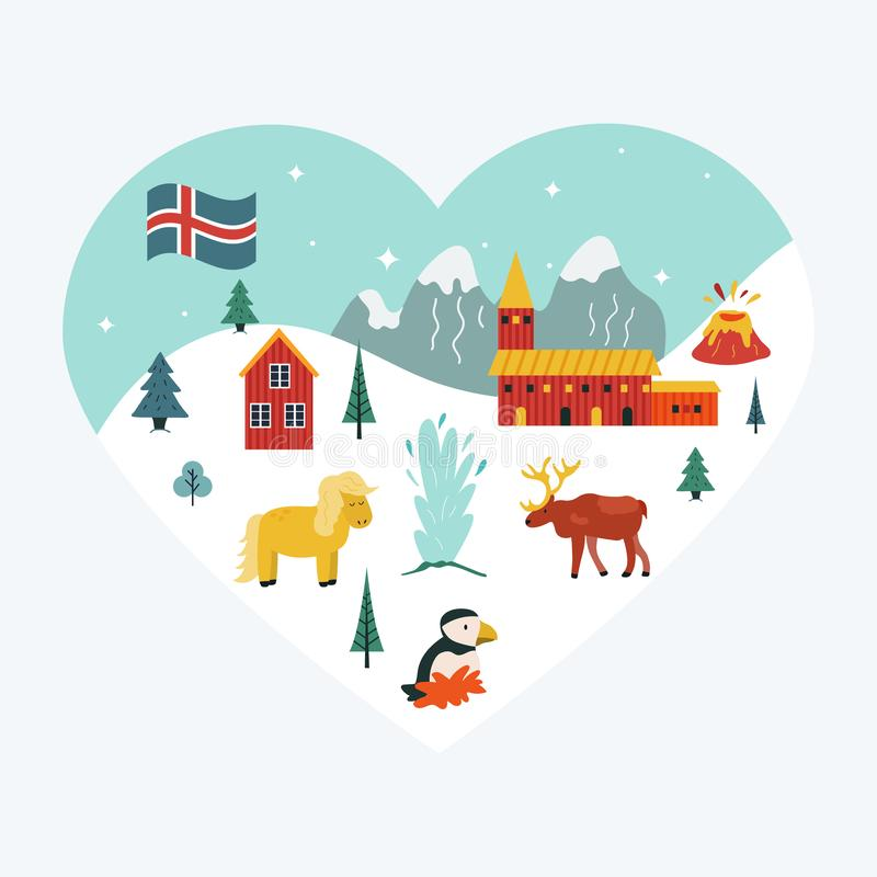 Iceland cartoon seamless pattern. Travel illustration vector illustration