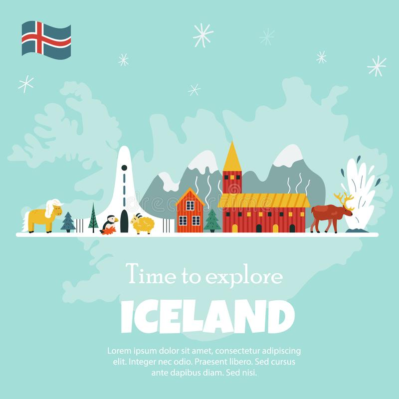 Iceland cartoon vector banner. Travel illustration royalty free illustration