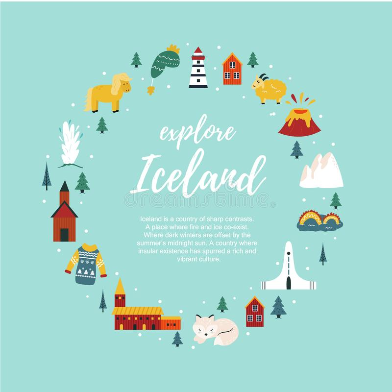 Iceland cartoon vector banner. Travel illustration stock illustration