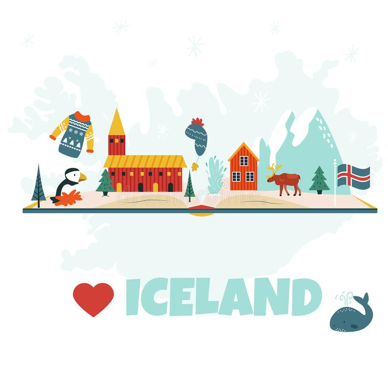 Iceland cartoon vector banner. Travel illustration vector illustration