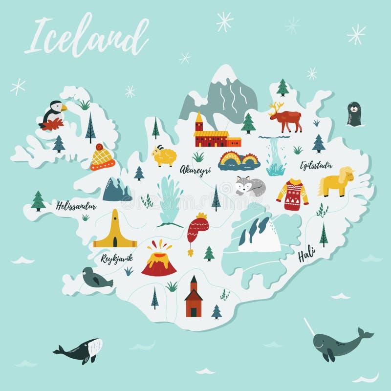 Iceland cartoon vector map. Travel illustration royalty free illustration