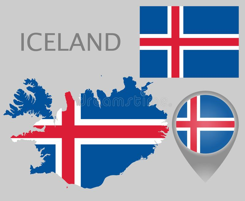 Iceland  flag, map and map pointer royalty free illustration