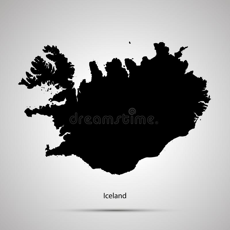 Iceland country map, simple black silhouette on gray royalty free illustration