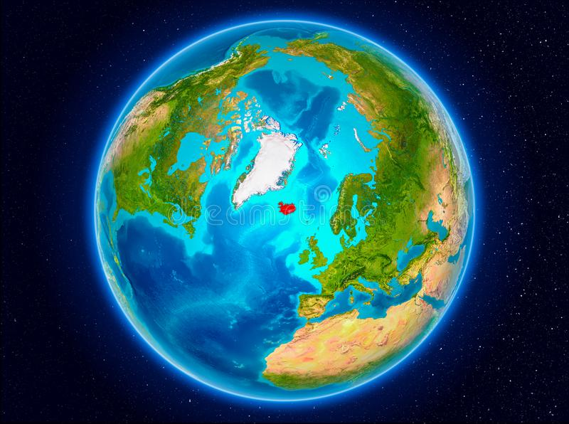 Iceland on Earth. Iceland in red from Earth's orbit. 3D illustration. Elements of this image furnished by NASA royalty free illustration