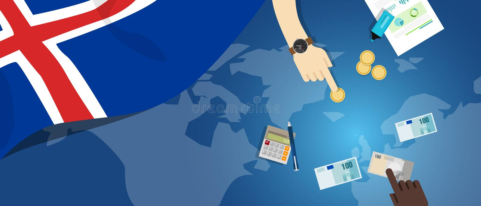 Iceland economy fiscal money trade concept illustration of financial banking budget with flag map and currency. Vector royalty free illustration
