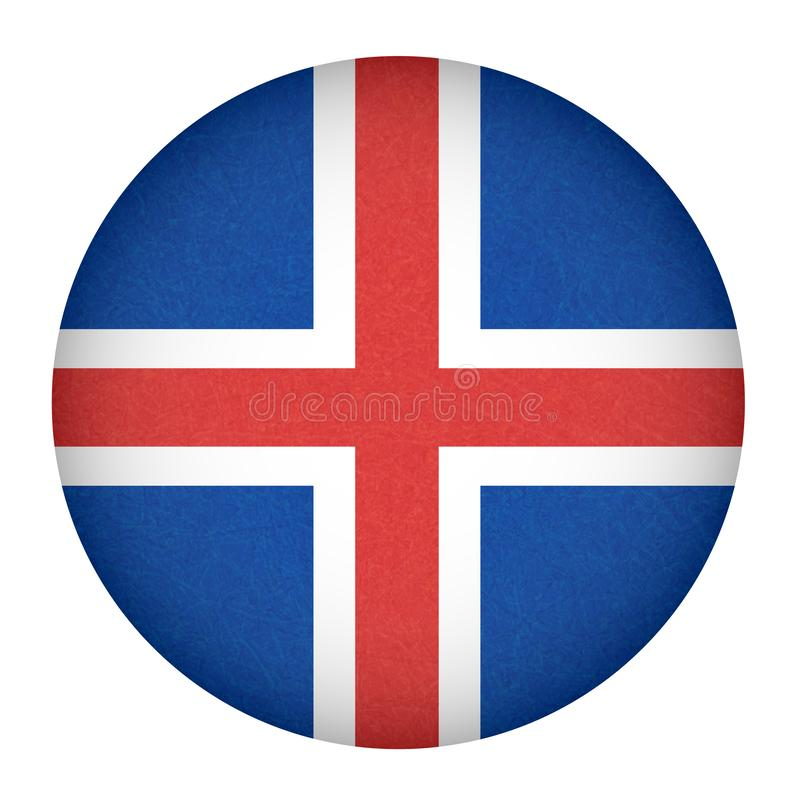 Iceland flag in circle shape, isolated buttom of icelandic banner with scratched texture, grunge. vector illustration