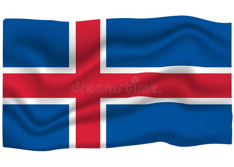 Iceland Flag Icon. National Flag Banner. Cartoon Vector illustration vector illustration