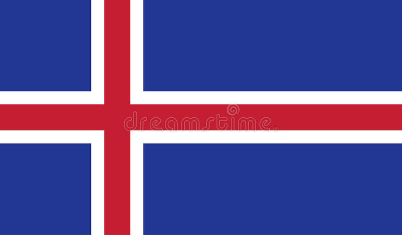 Iceland flag image. For any design in simple style stock illustration