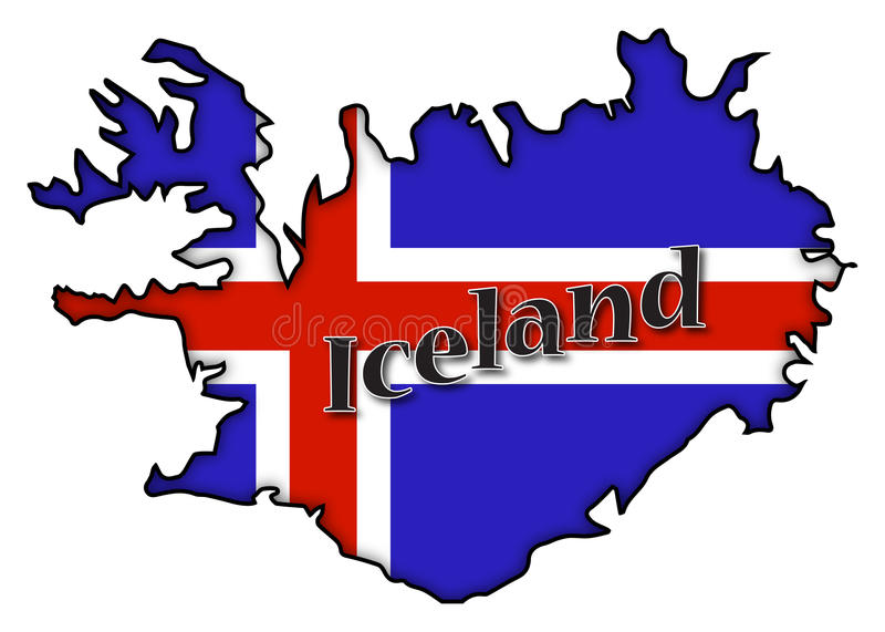 Iceland Flag On Map royalty free illustration