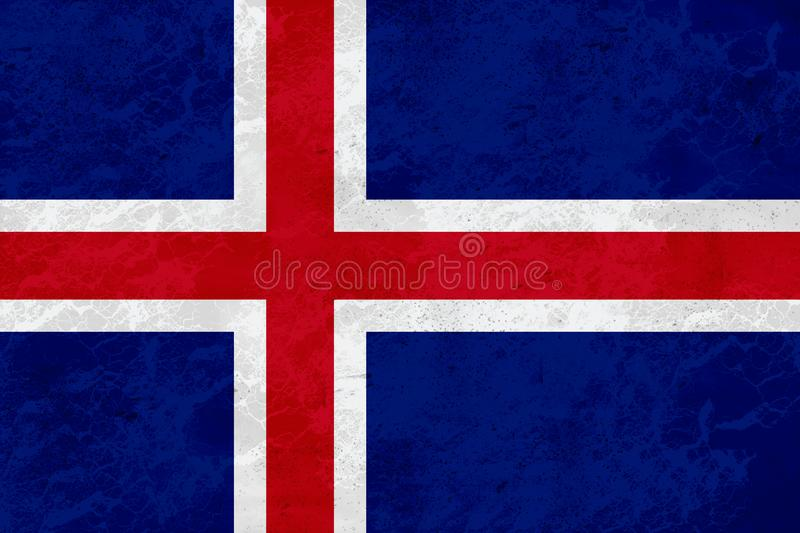 Iceland flag - marble texture stock photography